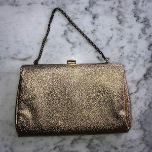 Vintage Metallic Gold Faux Leather Clutch/Wristlet
